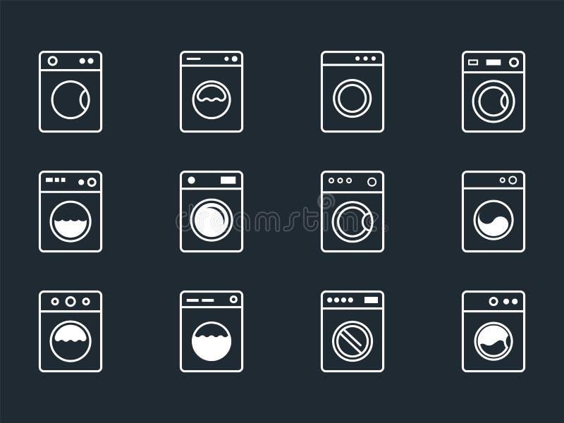 Значки прачечной установили с символами стиральной машины иллюстрация вектора