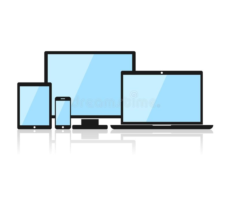 Значки прибора: smartphone, таблетка, компьтер-книжка и настольный компьютер Черный прибор в плоском стиле изолированный на белой иллюстрация вектора