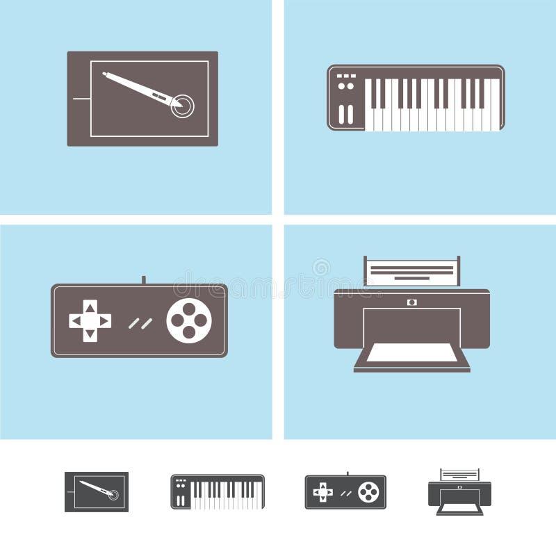 Значки приборов периферийного устройства компьутера стоковое изображение