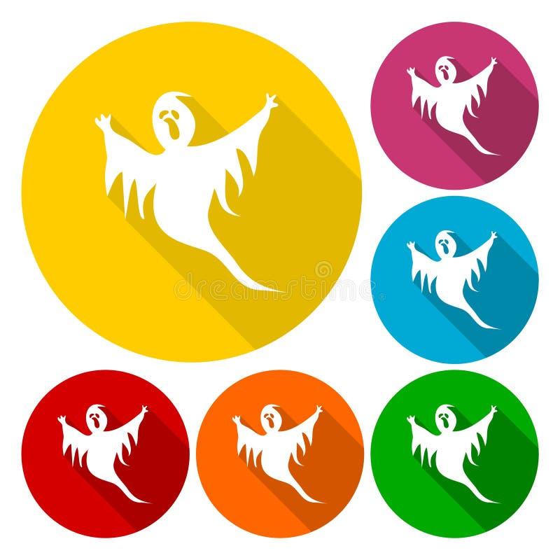Значки призрака установленные с длинной тенью бесплатная иллюстрация