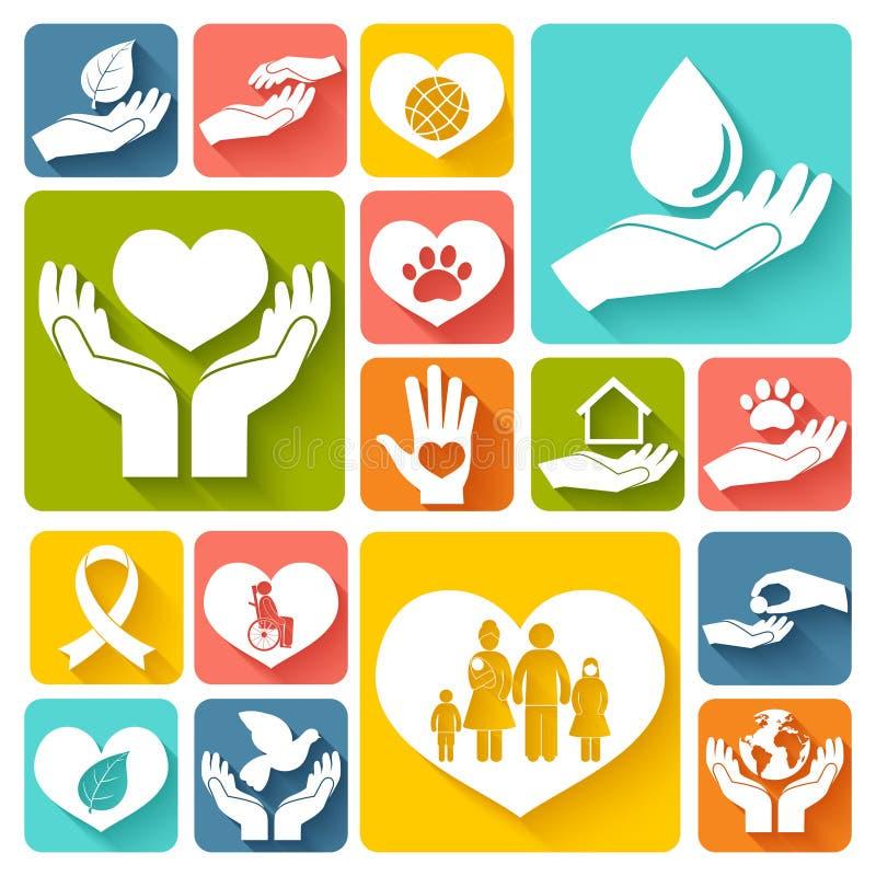 Значки призрения и пожертвования плоские иллюстрация штока