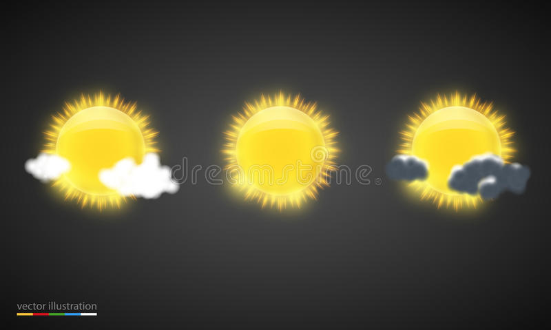 Значки прогноза погоды вектора иллюстрация вектора