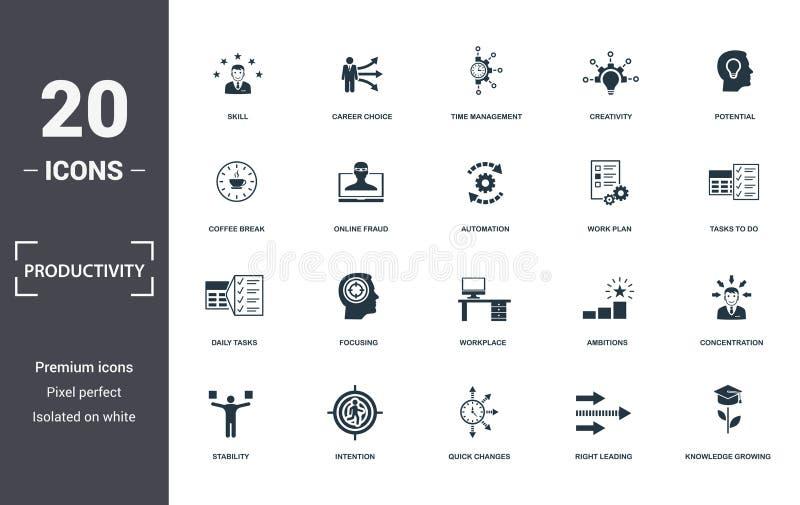 Значки производительности задают коллекцию Включает такие простые элементы, как навыки, выбор карьеры, управление временем, креат иллюстрация штока