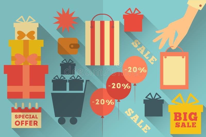 Значки продажи плоские иллюстрация штока