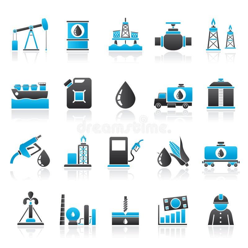 Значки продукции нефтедобывающей промышленности, газа, транспорта и хранения иллюстрация вектора