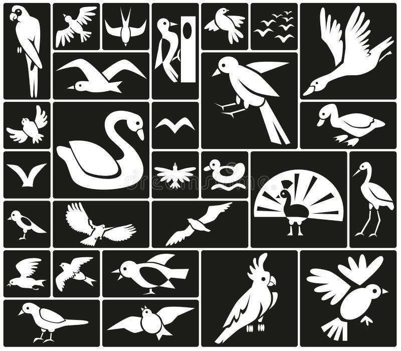 Значки птиц иллюстрация штока