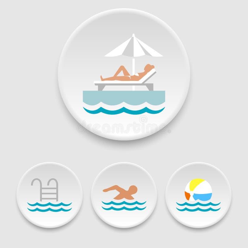 Значки плавательного бассеина иллюстрация штока