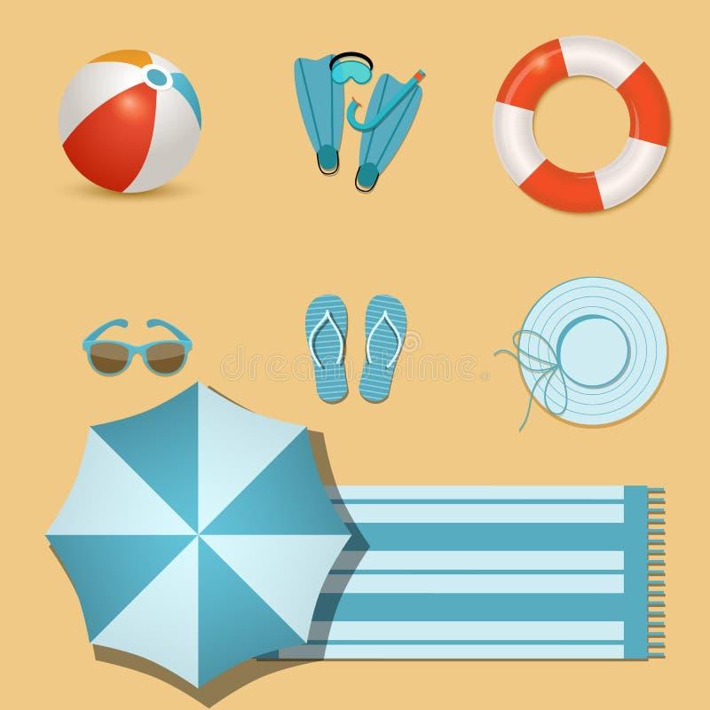 Значки пляжа иллюстрация штока