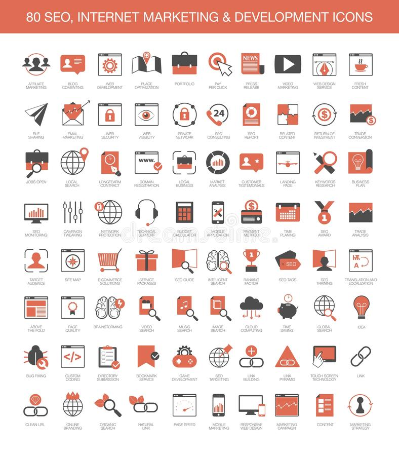 Значки развития маркетинга интернета иллюстрация штока