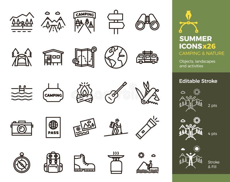 Значки, располагаться лагерем и природа лета Объекты, ландшафты и деятельность Линия иллюстрация вектора тонкая Легко editable хо иллюстрация вектора