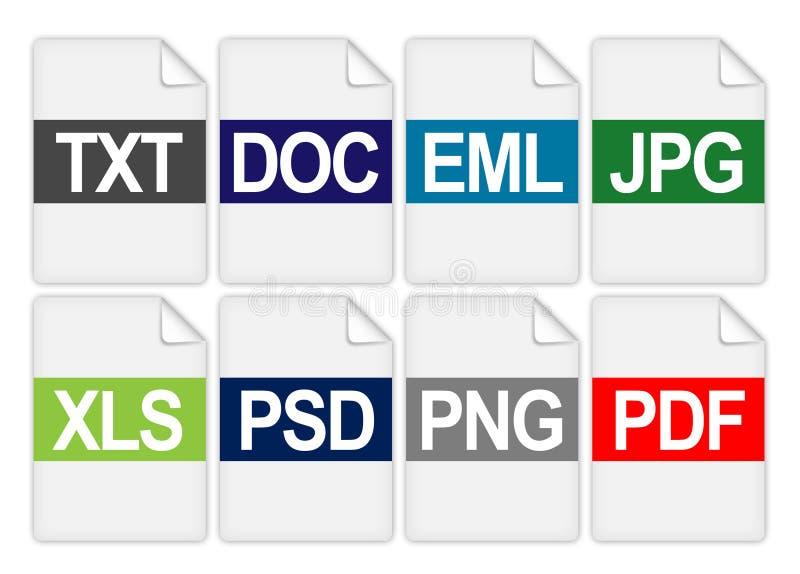 Значки расширения папки файла иллюстрация вектора