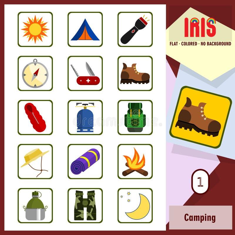 Значки радужки - располагаясь лагерем 1 Значки покрашенные квартирой бесплатная иллюстрация