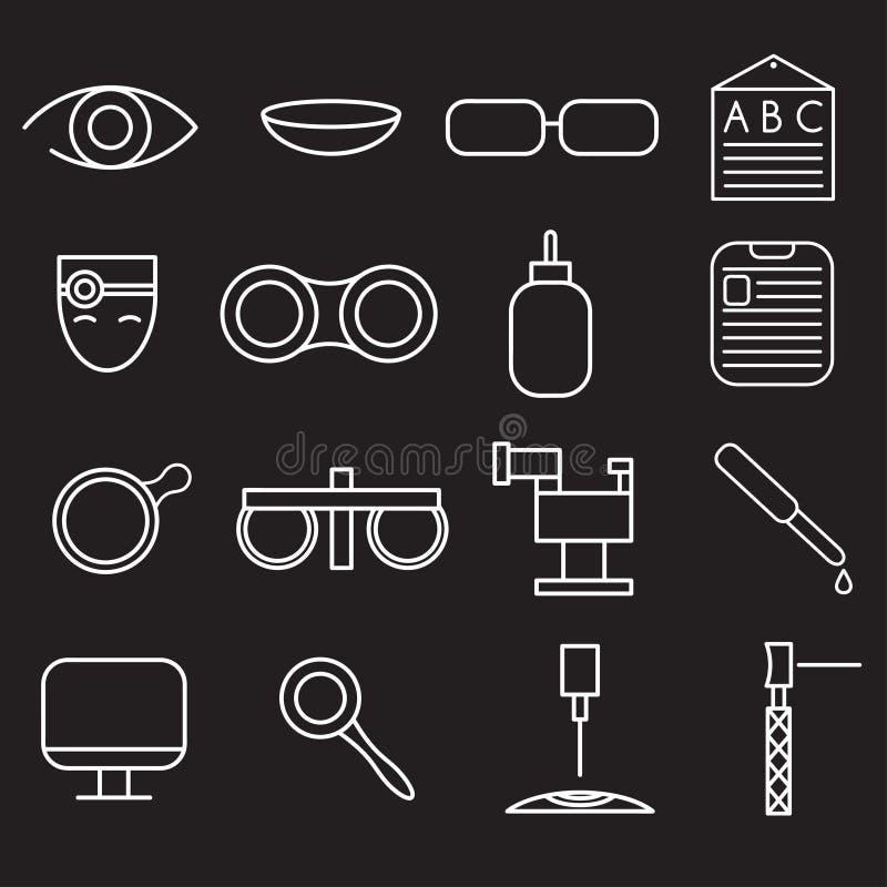 значки ремесла установленные офтальмологии и optometry иллюстрация вектора