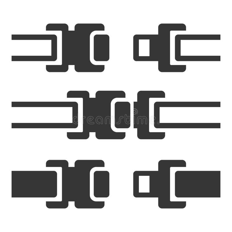 Значки ремня безопасности установили на белую предпосылку вектор иллюстрация вектора
