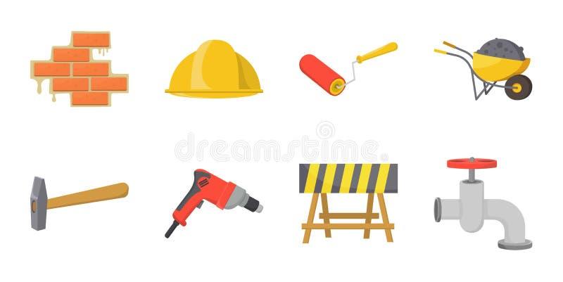 Значки ремонта здания в собрании комплекта для дизайна Строительный материал и инструменты vector иллюстрация сети запаса символа бесплатная иллюстрация