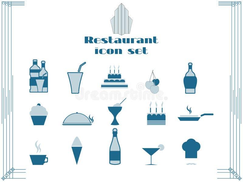 Значки ресторана в стиле стиля Арт Деко Значки варить и кухни иллюстрация штока