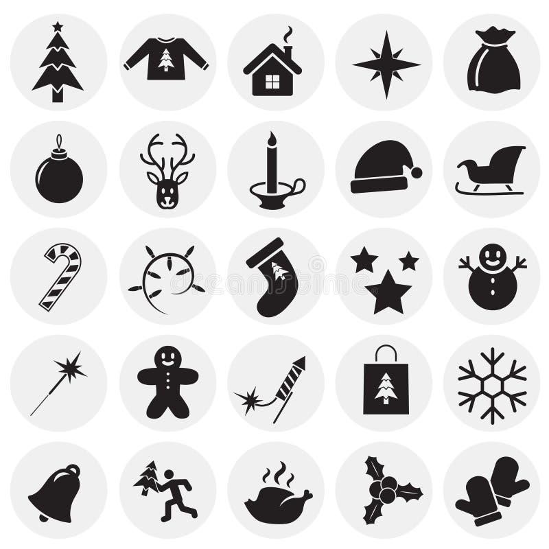 Значки рождества установили на предпосылку кругов для графика и веб-дизайна, современного простого знака вектора интернет принцип бесплатная иллюстрация