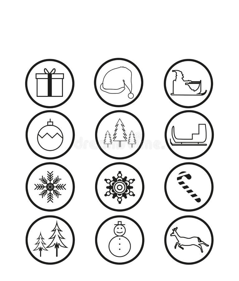 Download Значки рождества, вектор иллюстрация вектора. иллюстрации насчитывающей круг - 81800998