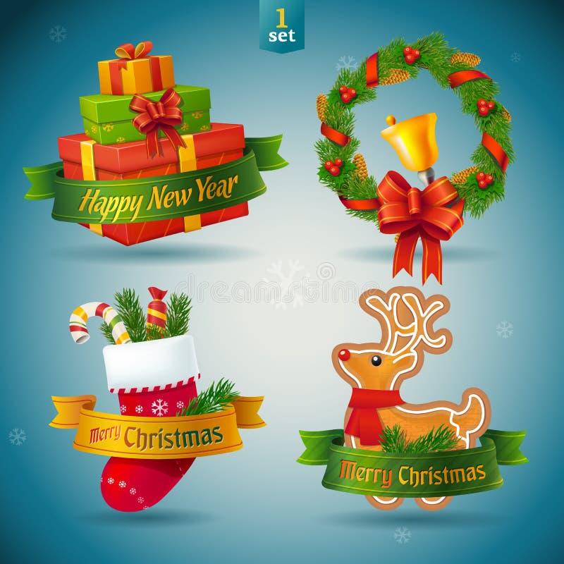 Значки рождества и Нового Года. иллюстрация вектора