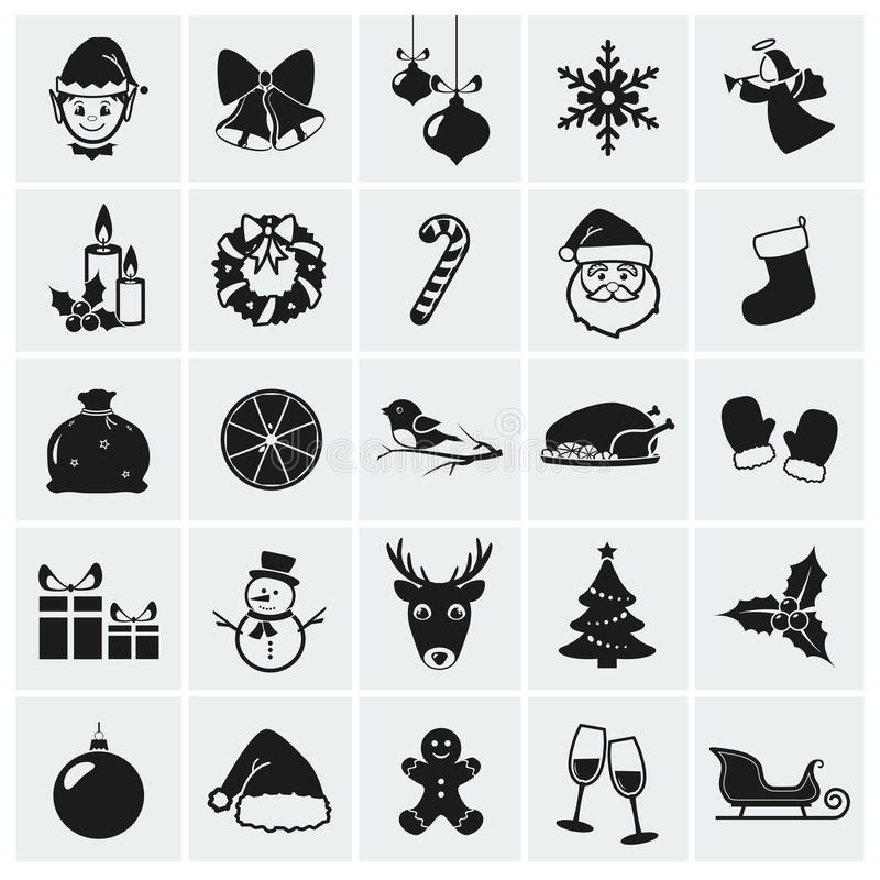 Значки рождества. Иллюстрация вектора. бесплатная иллюстрация