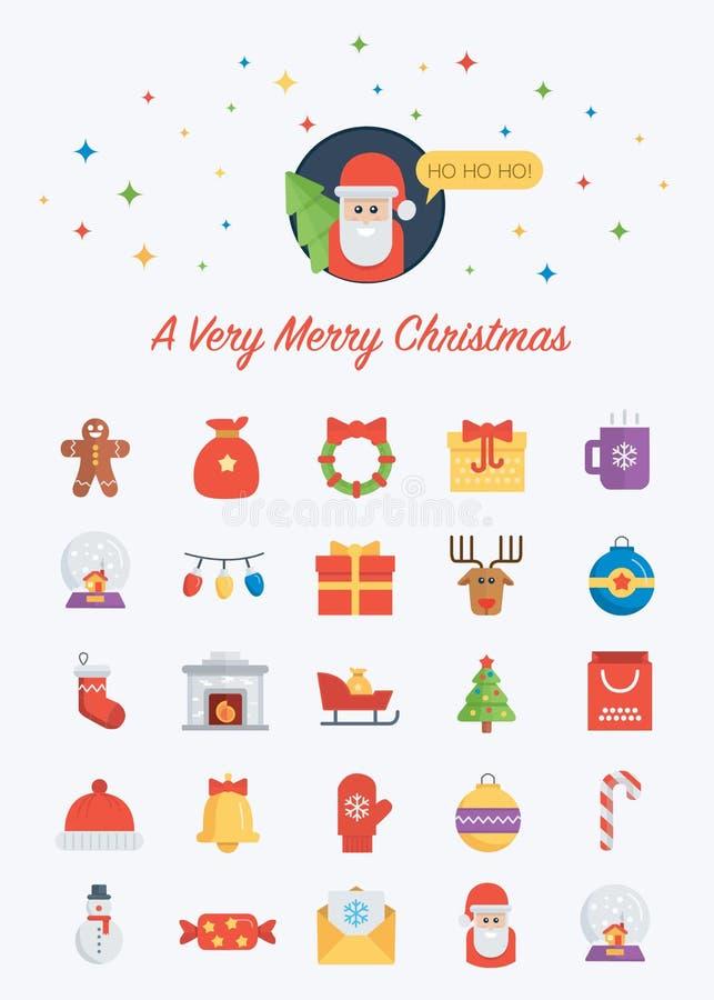Значки рождества установили с Сантой на верхней части бесплатная иллюстрация
