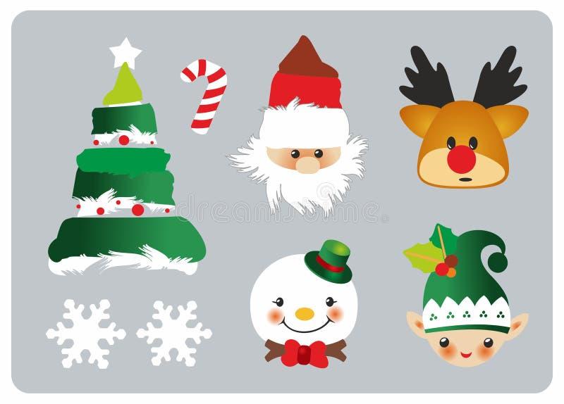 Значки рождества установленные иллюстрация вектора