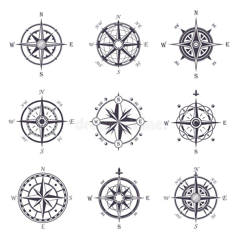Значки розового или старого, винтажного компаса ветра heraldic иллюстрация вектора