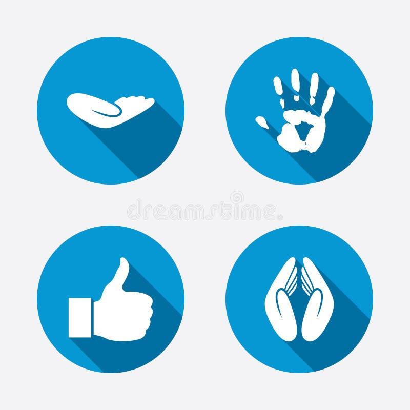 Значки руки Как большой палец руки поднимающий вверх и символы страхования бесплатная иллюстрация