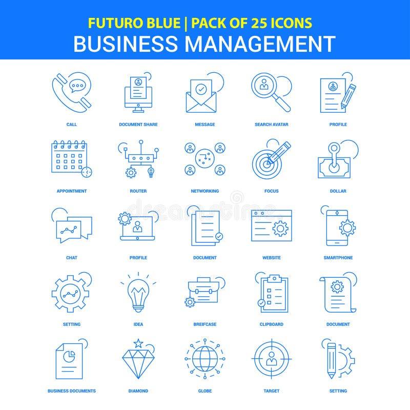 Значки руководства бизнесом - пакет 25 значков Futuro голубой иллюстрация вектора