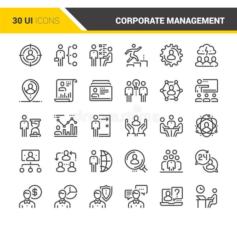 Значки руководства корпорации иллюстрация вектора