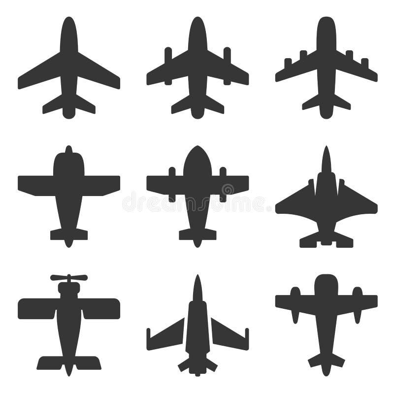 Значки самолета установили на белую предпосылку r бесплатная иллюстрация