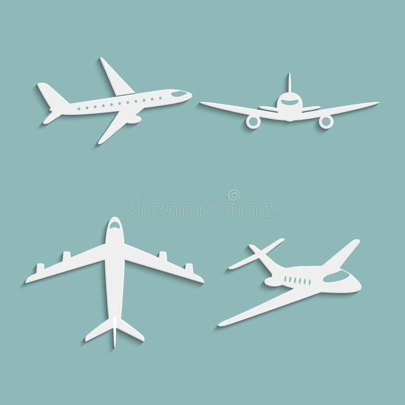 Значки самолетов бумажные иллюстрация штока