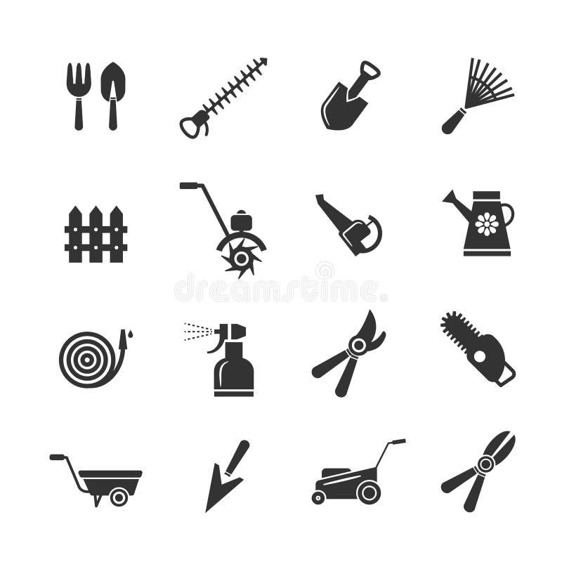 Значки садовничая инструментов и оборудования сельского хозяйства Подрезая hilling, землеудобрение полива иллюстрация вектора
