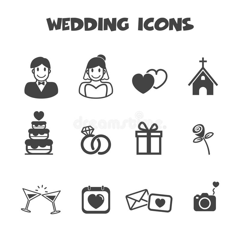 Значки свадьбы иллюстрация вектора