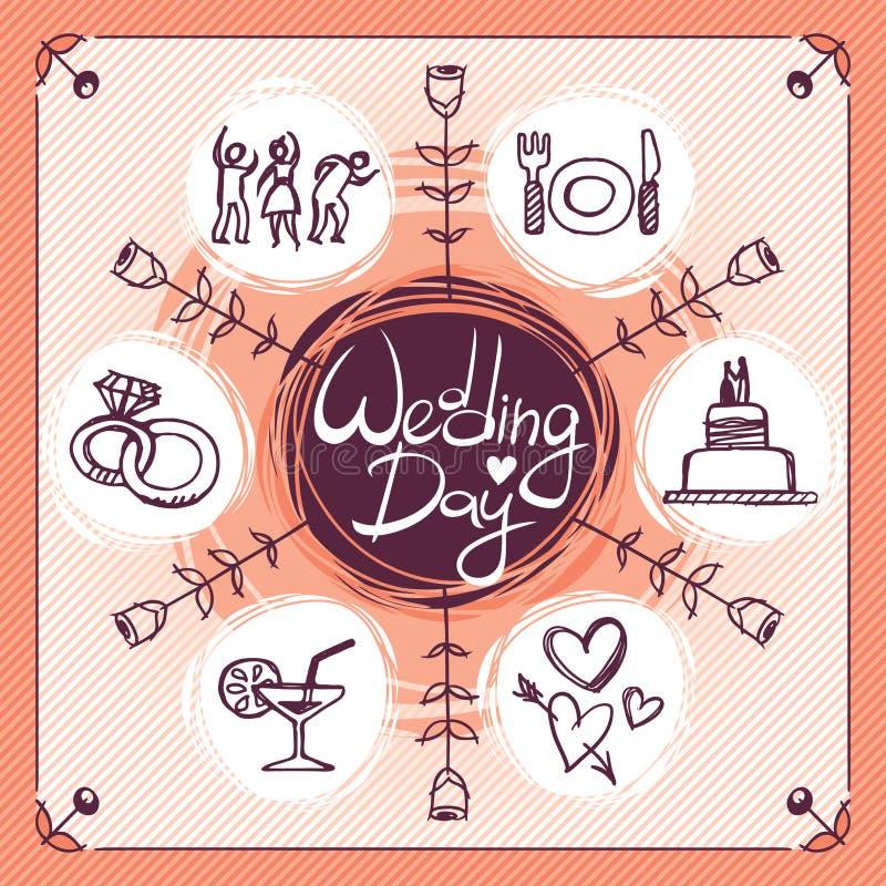 Значки свадьбы иллюстрация штока