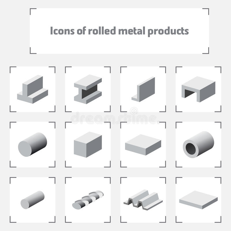 Значки свернутых металлических продуктов стоковая фотография rf