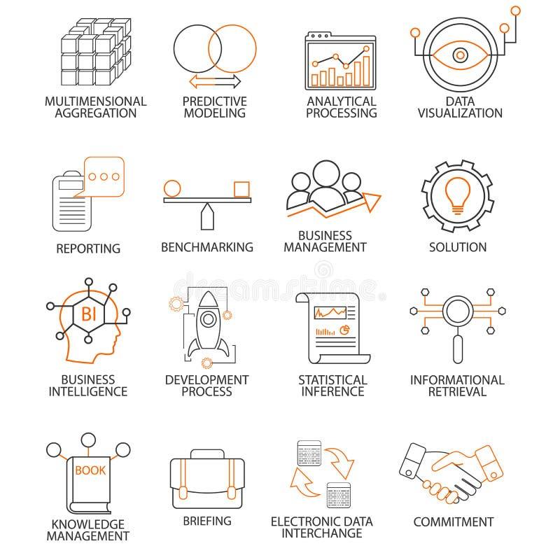Значки связанные к руководству бизнесом поддержки, стратегии, прогрессу карьеры и бизнес-процессу Mono линия пиктограммы и infogr бесплатная иллюстрация