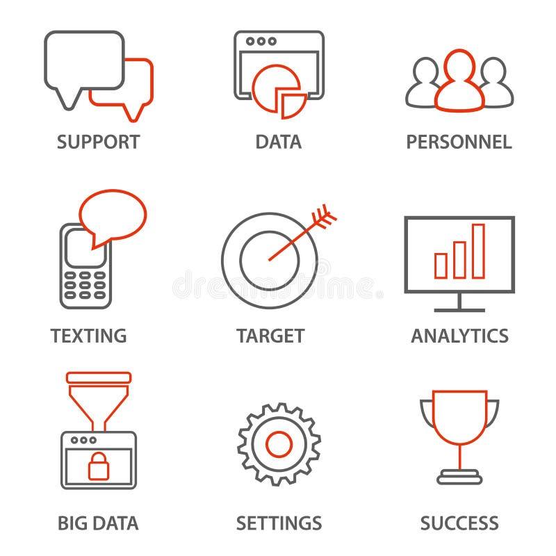 Значки связали к руководству бизнесом, стратегии, прогрессу карьеры и бизнес-процессу иллюстрация штока