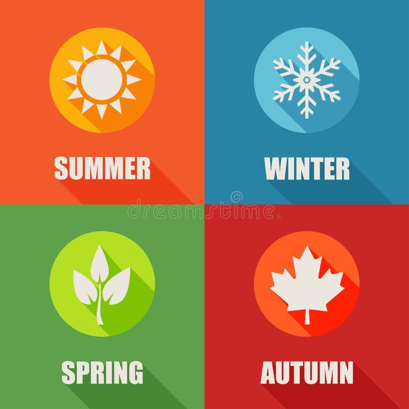 Значки сезона плоские установленные с длинной тенью иллюстрация штока