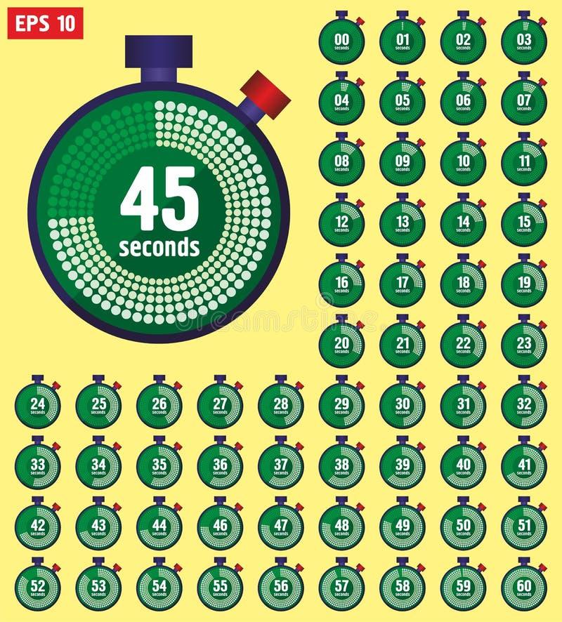 Значки секундомера установили в плоский стиль от 0 до 60, часы скорости спорта Таймер часов собрание 0 до 60 секунд иллюстрация штока