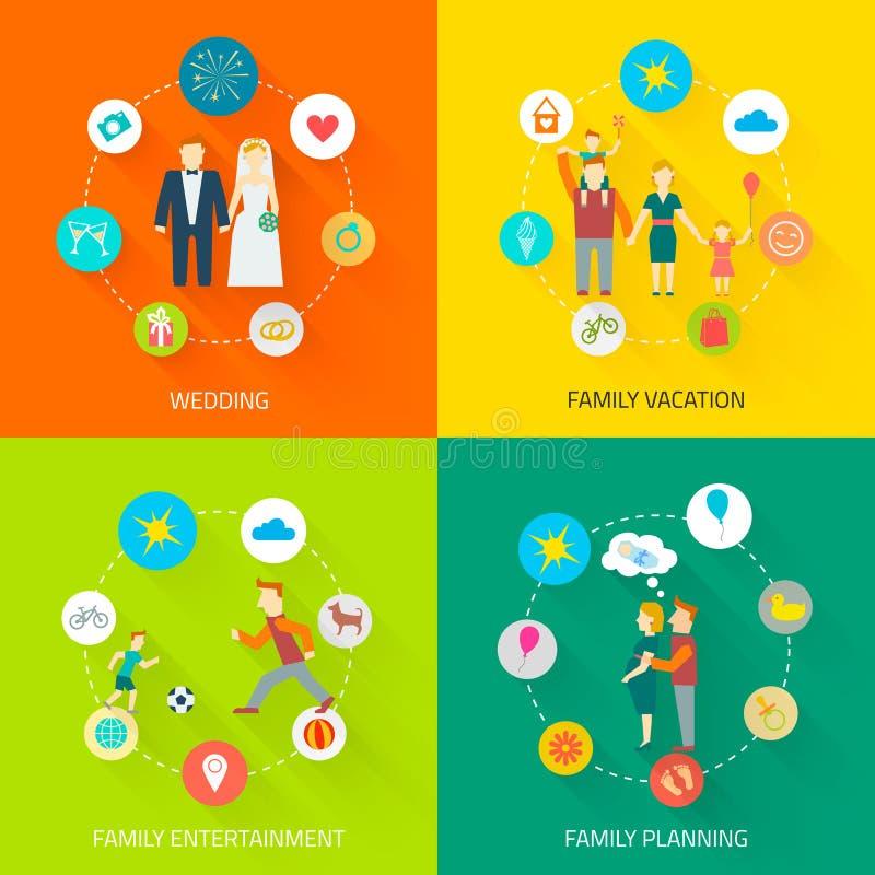 Значки семьи плоские бесплатная иллюстрация