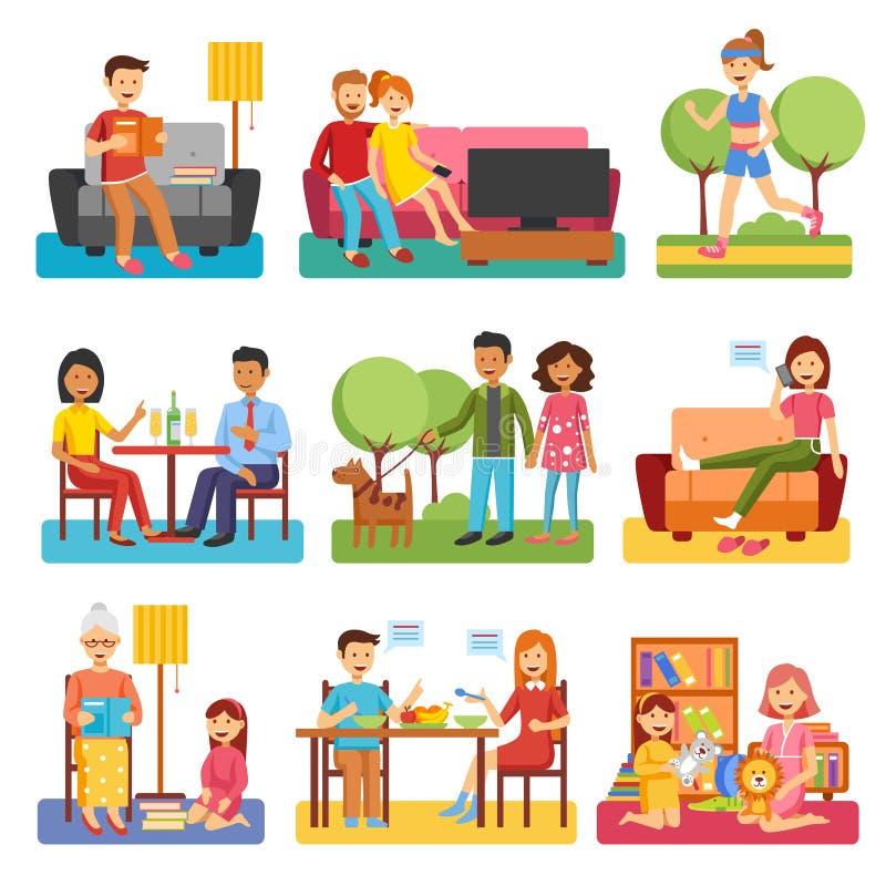 Значки семьи плоские иллюстрация штока