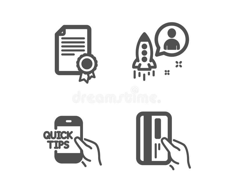 Значки сертификата, образования и запуска Знак карты оплаты Диплом, быстрые подсказки, разработчик Кредитная карточка r иллюстрация вектора