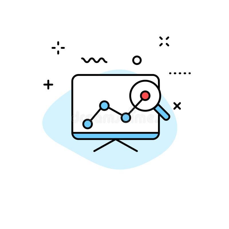 Значки сети анализа данных в линии стиле Диаграммы, анализ, большие данные, рост, диаграмма, исследование также вектор иллюстраци иллюстрация вектора