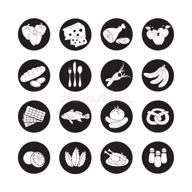 Значки сети вектора установленные плоские с едой Тень вычерченных продтоваров шаржа черно-белых длинная в круглой рамке для интер иллюстрация штока