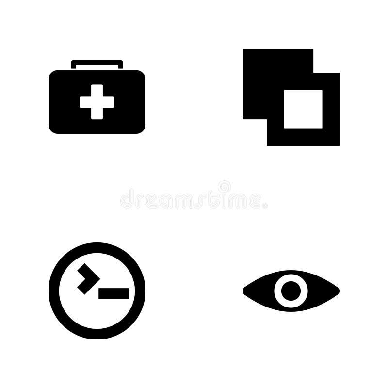 Значки сети иллюстрации вектора установленные Элементы наблюдают, input знак, знак отрезка и значок ребенк скорой помощи иллюстрация штока