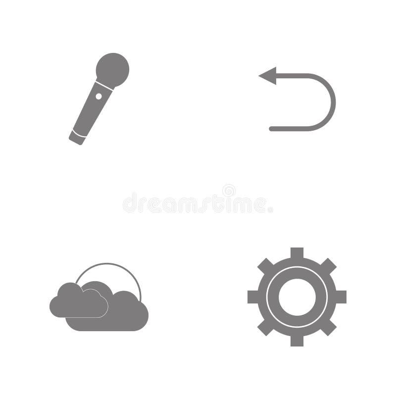 Значки сети иллюстрации вектора установленные Элементы устанавливая, облако Солнця, Backand Microphoneicon иллюстрация штока