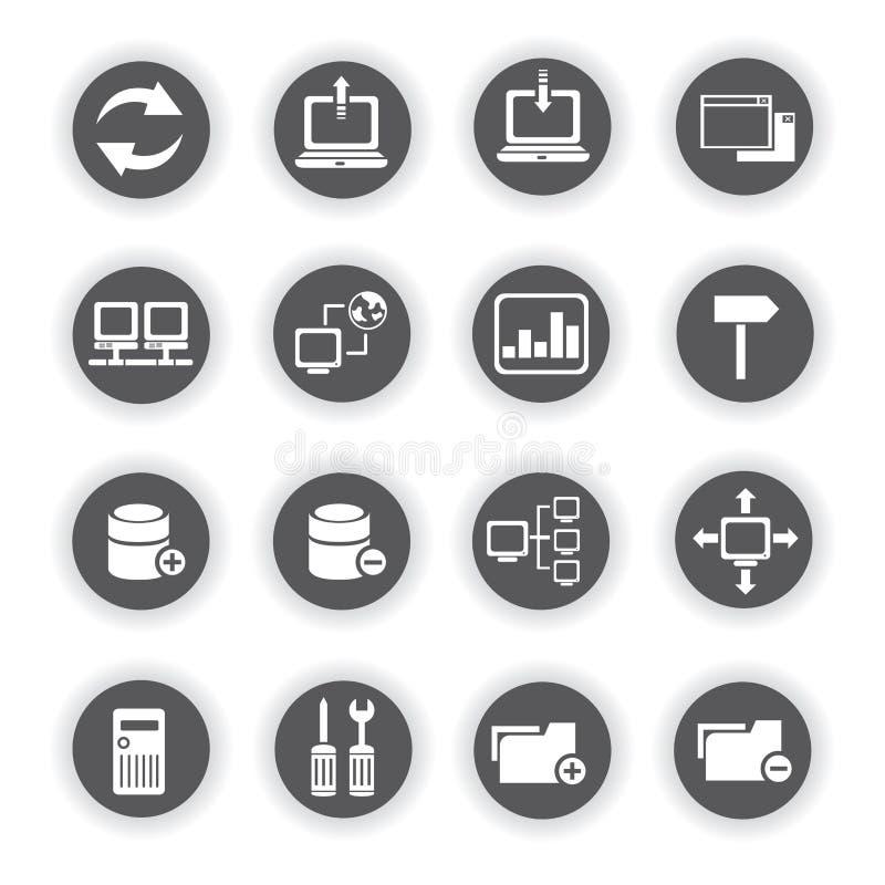 Значки сети, круглые кнопки иллюстрация вектора