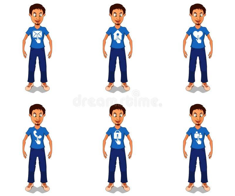 Значки сети на персонаже из мультфильма бесплатная иллюстрация