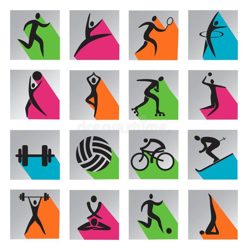 Значки сети спорта красочные иллюстрация вектора